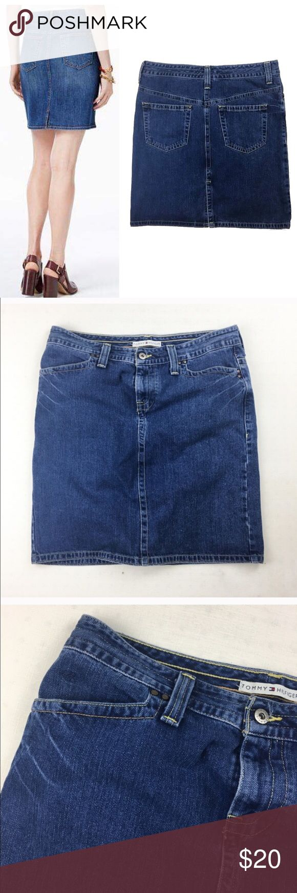 """Tommy Hilfiger's classic denim skirt Tommy Hilfiger's classic denim skirt is weekend-ready. Pair it with feminine top for a breezy ensemble. Excellent condition. Like new. 100% cotton. Waist36"""" length 21"""".  Zipper and button closure; belt loops Classic five-pocket styling Allover medium wash Slit at center back Hits at thigh Cotton/Lycra® spandex Machine washable Imported Tommy Hilfiger Skirts"""