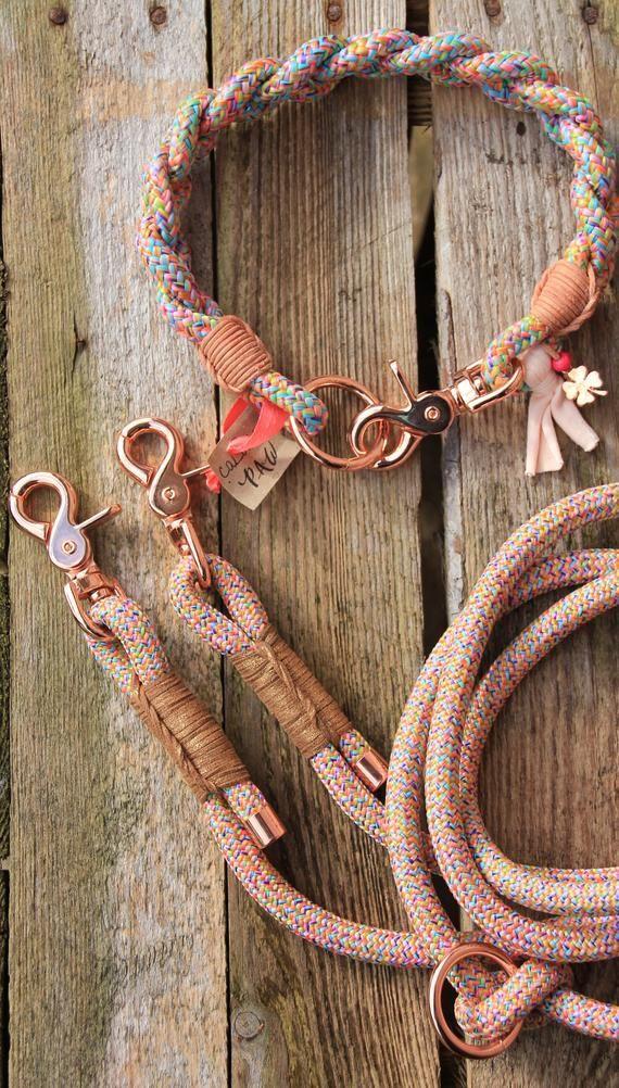 Set * Braided Rainbow * Tauleine & collar-dog collar tau climbing rope dog jewelry braided