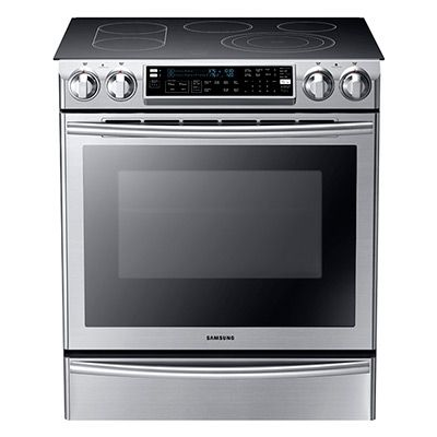 This range allows you to split your oven and have 2 separate cooking temperatures. Effectively doubling your cooking space.  5.8 cu. ft. Slide-in Flex Duo Oven Electric Range NE58F9710WS | Samsung Home Appliances