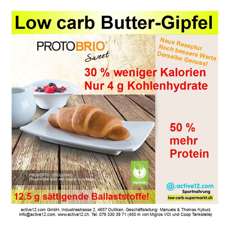 Low carb Butter-Gipfel ■ 30 % weniger Kalorien ■ Nur 4 g Kohlenhydrate ■ 50 % mehr Protein ■ 12.5 g sättigende Ballaststoffe! #lowcarb #lowcarbs #lowcarbschweiz #lowcarbswitzerland #lowcarbfood #lowcarbdiet #lowcarbhighfat #highprotein #hoherProteingehalt #abnehmen #abnehmenschweiz #fitness #fitnessschweiz #active12 #sixpack #Ciaocarb #Protobrio #sweet #süss #Süssigkeiten #naschen #Kaffee #Pause #Kaffeepause #Gipfel #Gipfeli #Hörnchen #cornetto #croissant #Buttergipfel #Snacks #lowcarbsnack