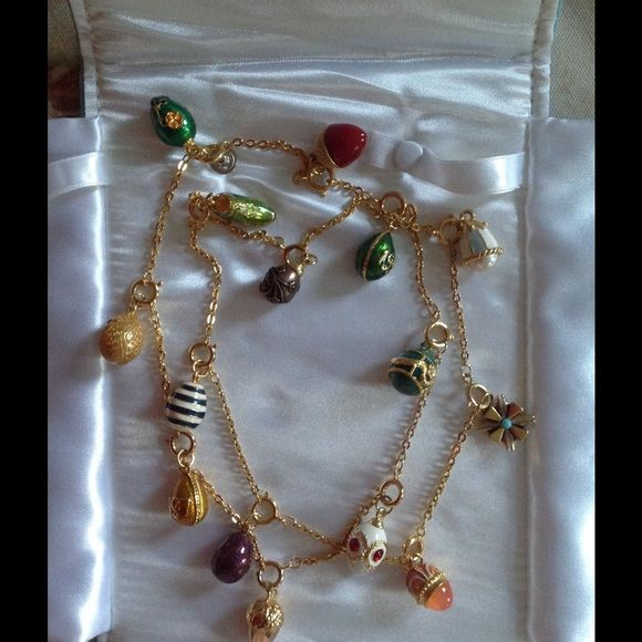 """Coming in Jan: Vintage Enamel Egg Necklace Joan Rivers gorgeous collectible enamel eggs. 15 eggs on a 34"""" chain. Each egg detaches. Includes dated eggs, 1996,  1997. Joan Rivers Jewelry Necklaces"""