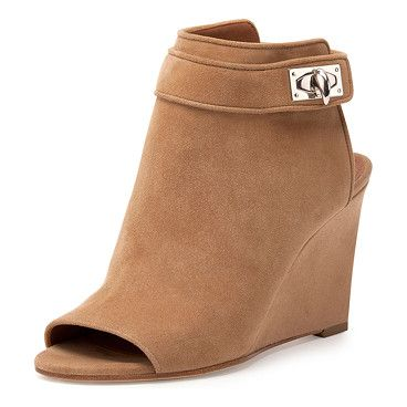 GIVENCHY Suede shark-lock peep-toe wedge bootie found on Nudevotion