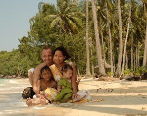 That is us at Nirvana beach, which is just 10 minutes walking distance from Ayu Hotel Karimunjawa. You see Marco from Germany, Eryl from Blora/ Indonesia and our  Kids Farell and Keon. We speak Bahasa Indonesia, Bahasa Java, fluent English and German and do our best to make your stay at Ayu Hotel Karimunjawa nice and relaxing.