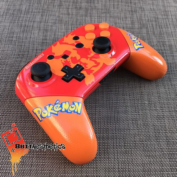 MADE TO ORDER: This listing is for a pre-order. Please allow 4-6 weeks for assembly prior to shipment.  Features: - Brand new controller - Professionally painted Charizard Evolution themed Red/Orange housing - Custom permanent vinyl logo images under a protective gloss clear coat