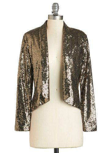 Statement of Sequins Blazer. The only way to describe this sequined blazer is simply dazzling! #bronze #modcloth
