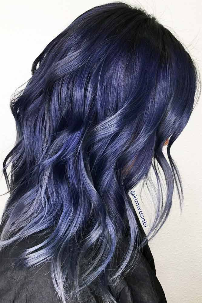 55 Tasteful Blue Black Hair Color Ideas To Try In Any Season Hair Color For Black Hair Metallic Hair Blue Black Hair Color