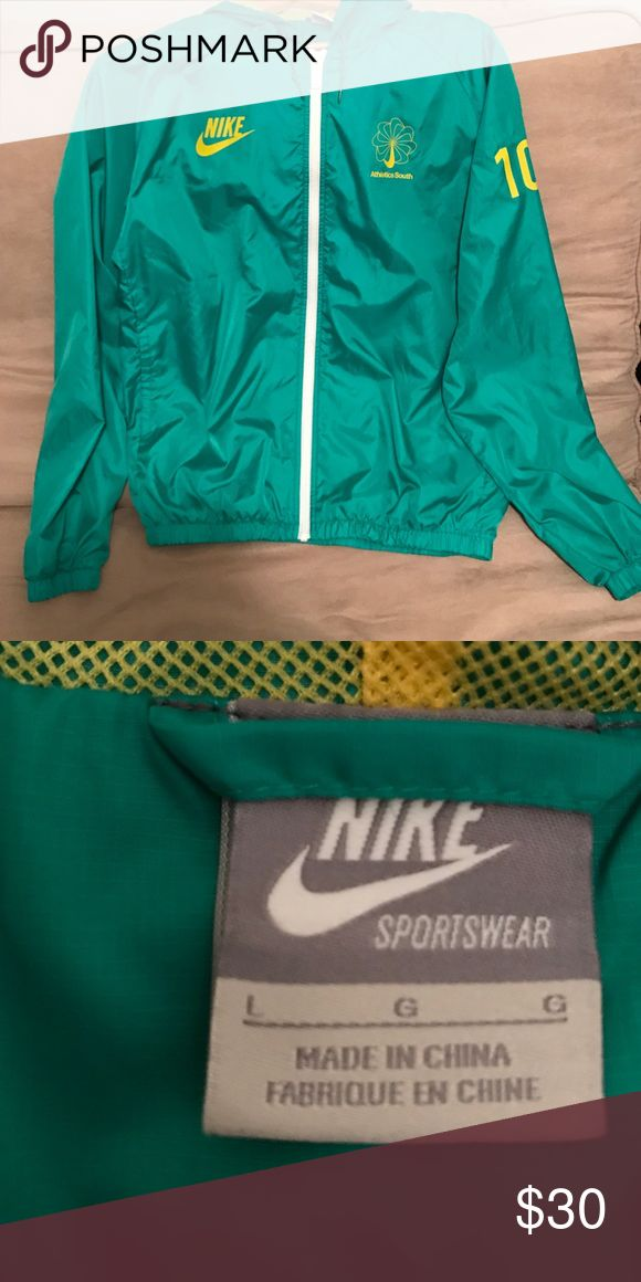 NIKE SPORTS JACKET / RAIN SHELL Almost new condition, hardly worn! Purchased from Nike Japan so a woman's size large is probably closer to a M in USA sizing!! Great for running outside in the rain/wind and sports practices! :) Keeps you dry and looking fly~ 🍏🍐🥑🥒🥗 Nike Jackets & Coats