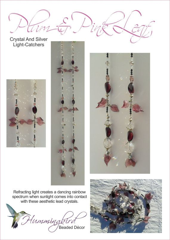 Plum and Pink Crystal and Silver  LightCatchers by BeadDecor, £18.00
