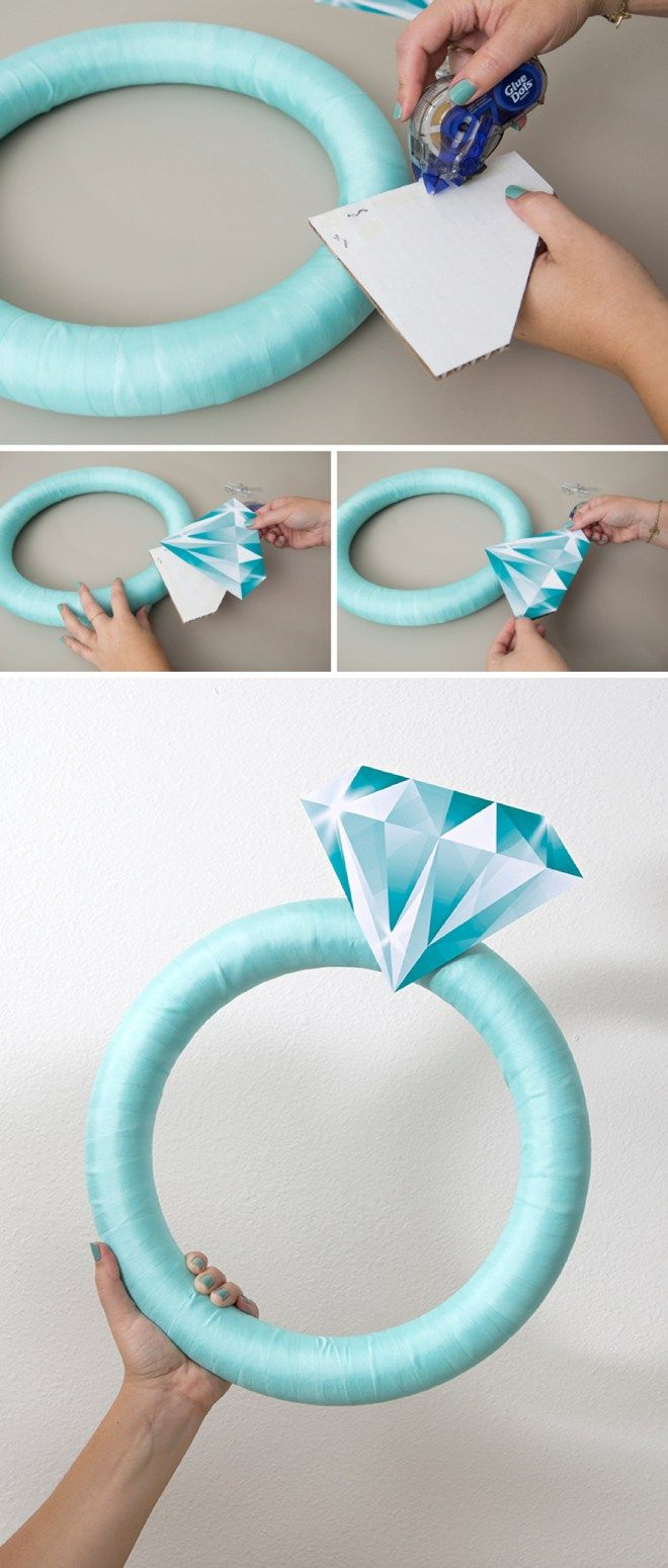 This Giant Diamond Ring Is The Perfect DIY Bridal Shower Door Decor!