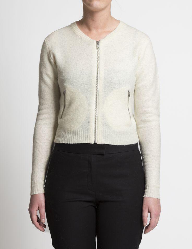 Selhood - womensfashion outift.  Lambswool/nylon cardigan with zipper.