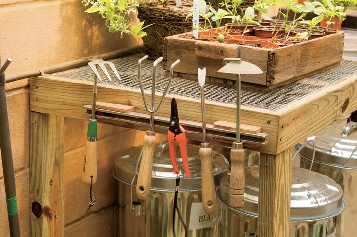 Stick to It - Organize Your Garden Shed - Southernliving. Attach a magnetic strip to the side of a potting bench to keep small steel tools handy and organized. (aluminum won't stick.)