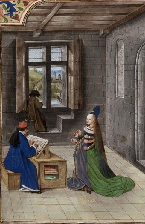 Des cas des ruynes des nobles Hommes et femmes, 1479-80 par Laurent de Premierfait . Pays-Bas. British Library , le Royal 14 E V , détail de f . 291