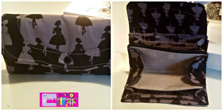 Handmade By Lisa's Creations  Necessary clutch purse with silhouette dolls on interior and exterior and pocket is Hollywood sparkle spots