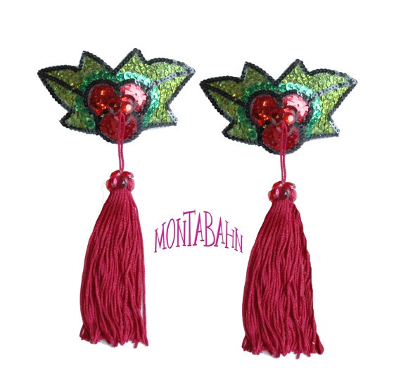 Burlesque Pasties Christmas Xmas Holly Mistletoe Red Green
