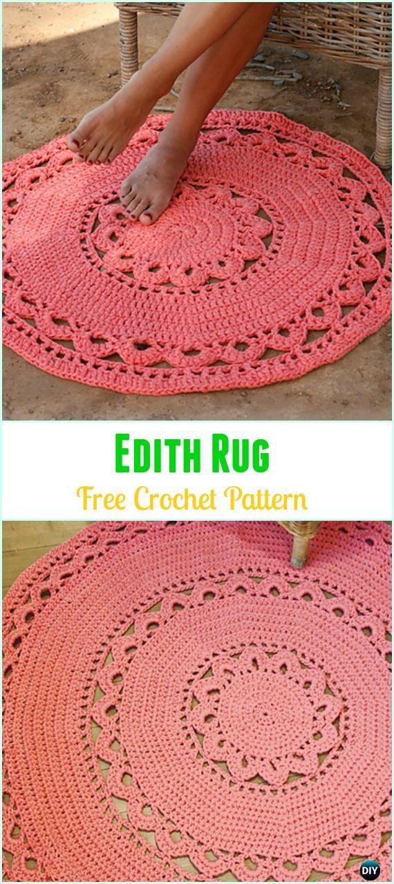 Crochet Edith Rug Free Pattern -Crochet Area Rug Ideas Free Patterns