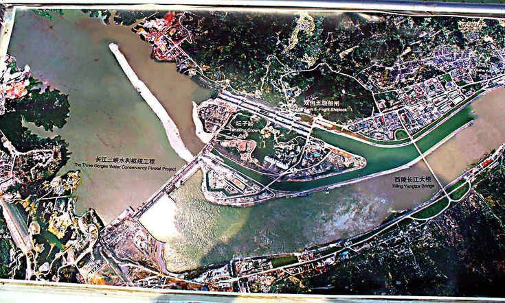 An aerial photo of the Three Gorges Dam project location