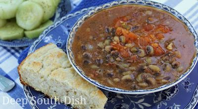 Purple Hull Peas with Creole Stewed Tomatoes - Southern peas such as purple hulls shown here, are cooked down with salt pork or bacon, onion and simple seasonings, then finished with a Creole style stewed tomato.