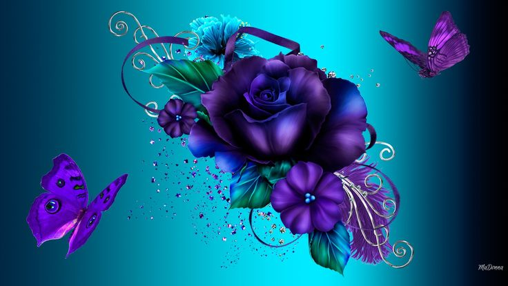 Brighten Up Day Flowers Roses Summer Bright Cyan Purple Gold Scrolls Spring Gradient Butterflies Aqua Ribbons Sprinkles Shiny Hd Flower Garden Wallpaper