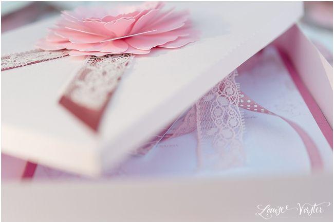 Pink wedding invitation box.