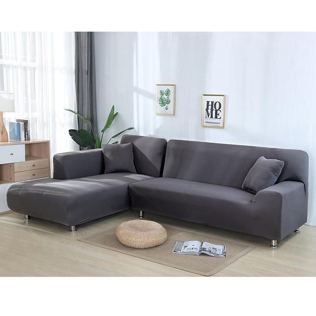 Dark Grey Plain Fitted Sectional Couch Cover | Sofa Cover