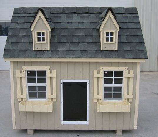 Geared to the larger dog or dogs, with a look you & your pups would be proud to have in your yard - charming detail & durable with insulation and/or heater/AC options, 2 styles, this Cape Cod Style & a 2nd one, Luxury Dog House 4' x 6'. #largedoghouses