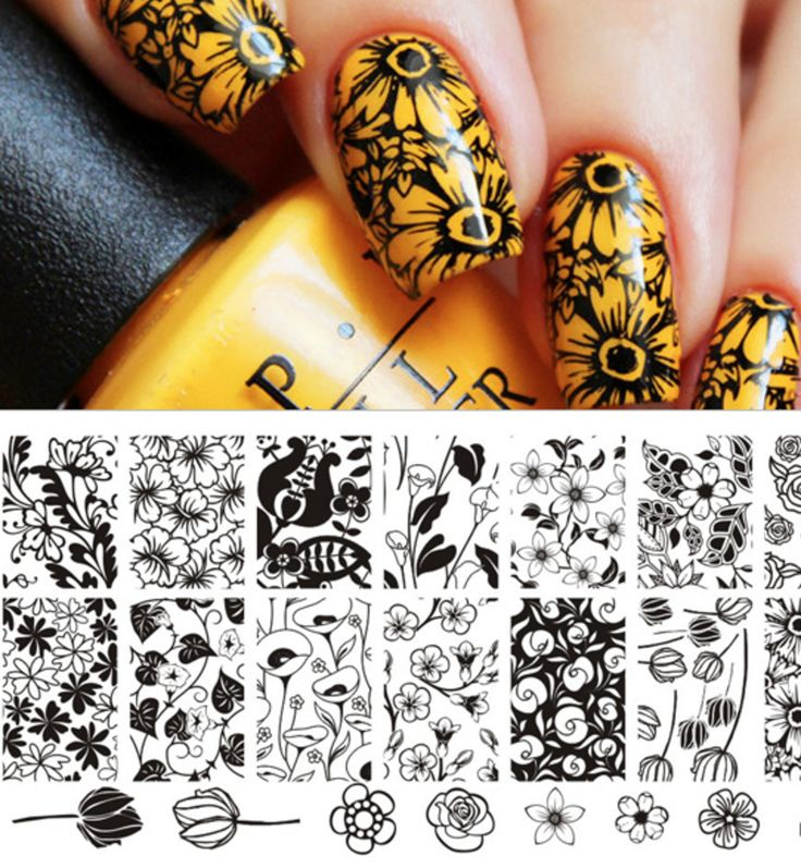 Floral/Rose Pattern Nail Art Stamp Template BP-L029 # 21815