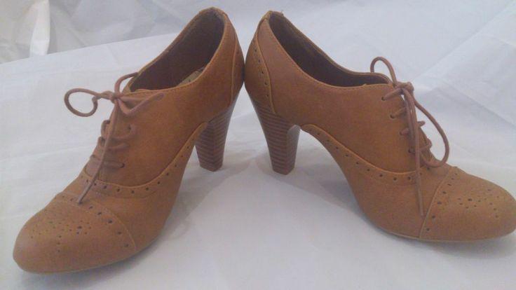 New Look Ladies Brown Lace Up Booties with Heels UK 4 EU 37