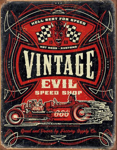 Vintage Evil - Hell Bent Rods Tin Sign Placa de lata