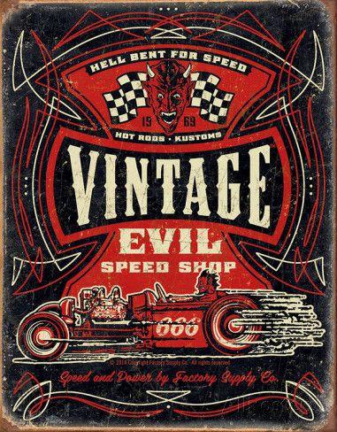 Vintage Evil - Hell Bent Rods Tin Sign Placa de lata