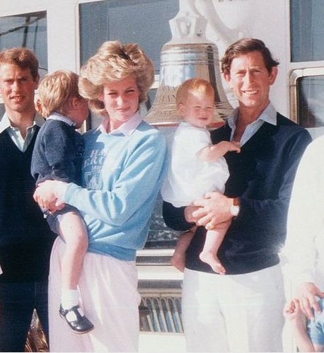 August 1985:The Queen and The Duke of Edinburgh for their Western Isles cruise in Scotland. This annual cruise enabled The Queen and her family to enjoy a few days away from the constant demands of public engagements and visitors, while exploring some of the more remote areas of Scotland. Princess Diana holding Prince William, Prince Charles holding Prince Harry.