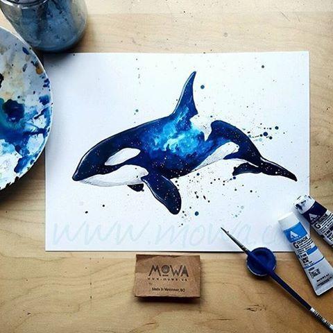 Orca Watercolour  By @_mowa _