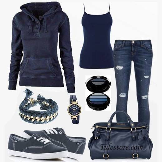 Blue & casual outfit! #fashion