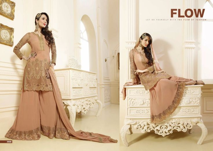 Let go yourself with the flow of fashion in Salwar Kameez suit style made with Georgette Fabric Santoon Bottom and Chiffon Dupatta 3608