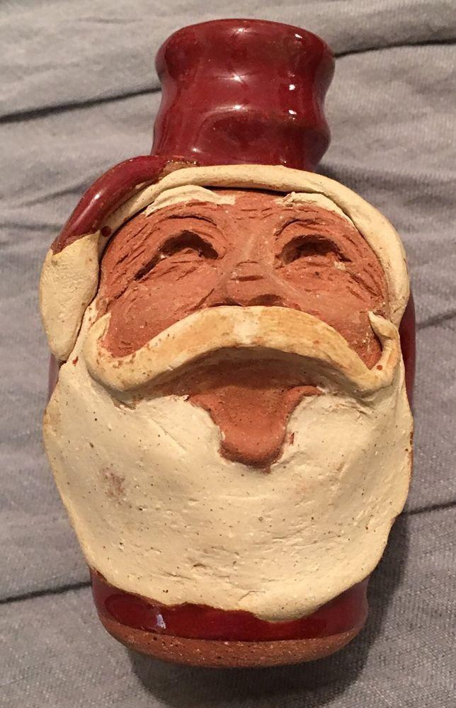North Carolina Bolick Pottery Santa Claus Miniature Face Jug
