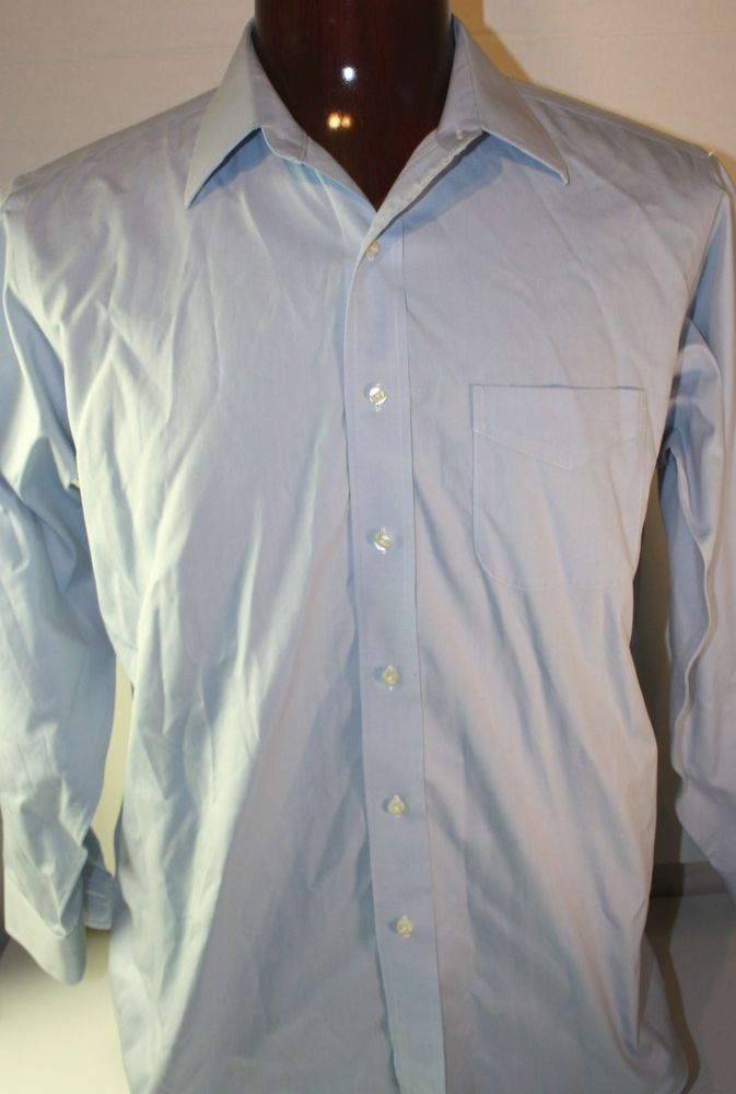 Brooks Brothers Button Front Mens Dress Shirt Long Sleeve 16 - 33 Blue Non Iron