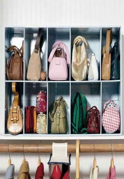 Handbag organizer. | 53 Seriously Life-Changing Clothing Organization Tips