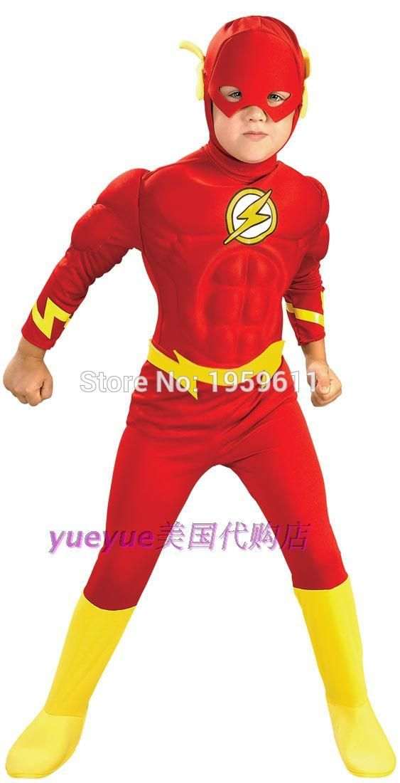 The flash Muscle Kids DC comic Superhero fancy dress fantasia halloween costumes disfraces for child boy's cosplay clothing