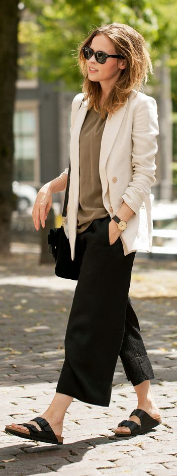 @roressclothes closet ideas #women fashion outfit #clothing style apparel Beige Blazer and Culottes