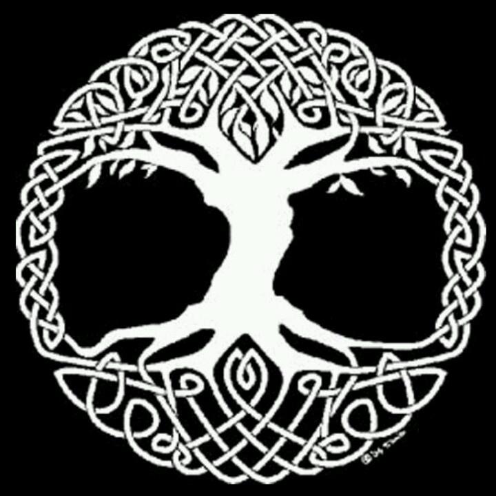 Valknut Symbol Worlds End Tree Yggdrasil Stock Vektorgrafik