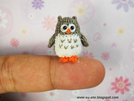 Tiny Owl Mariah wants me to learn to crochet so i can make a bunch of different tiny teeny tiny animals and birds