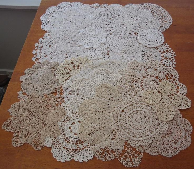 Twenty Six Authentic Vintage Crochet/Lace Doilies Bulk Variety No Reserve in Antiques, Textiles, Linens, Lace, Crochet, Doilies | eBay SELLER ID: kathy_a1