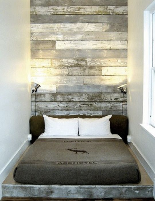 Distressed Wood Panel Wall With Workshop Lamps Casa