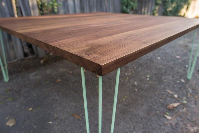 Handkrafted - Walnut Dining Table handmade by Saw and Grain. Black American Walnut on powder coated hairpin legs. Australian Made.