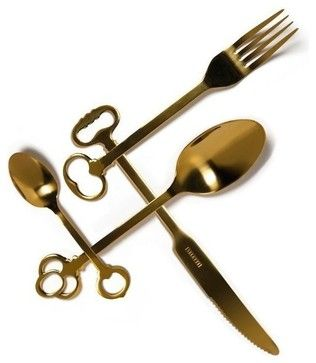 """Seletti """"Keytlery"""" Cutlery Gold Set - 24 Pieces eclectic-cutlery-sets"""