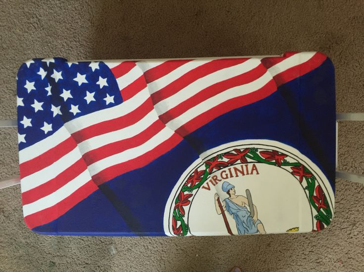 American flag and Virginia flag painted cooler