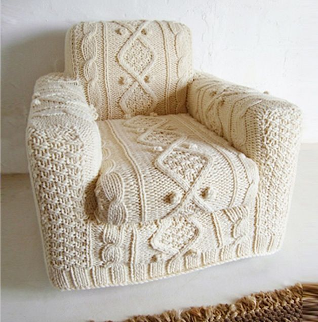 For my future ski lodge rec room: Knits Chairs, Reading Chairs, Armchairs, Random Stuff, Cozy Sweaters, Chairs Covers, Knits Needle, Knits Projects, Cable Knits