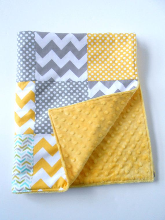 Minky Baby Patchwork Quilt Blanket Riley Blake Chevrons and Dots Michael Miller Les Amis Yellow Gray--Made to Order