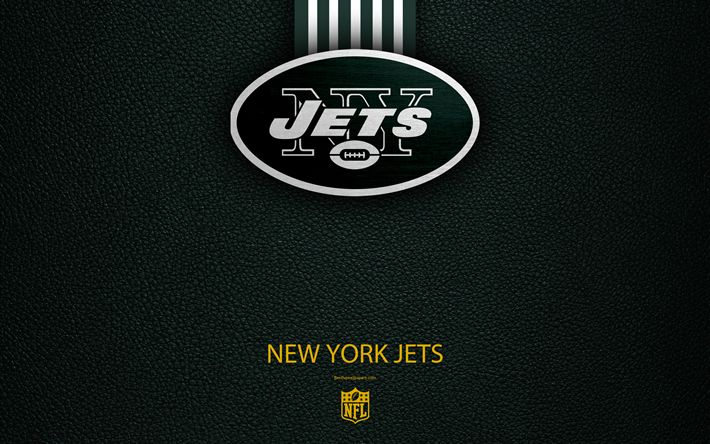 Download wallpapers New York Jets, 4k, american football, logo, leather texture, New York, USA, emblem, NFL, National Football League, Eastern Division