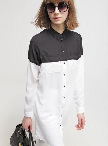 Noisy May NMKIMI Bluzka koszulowa czarno-biała black