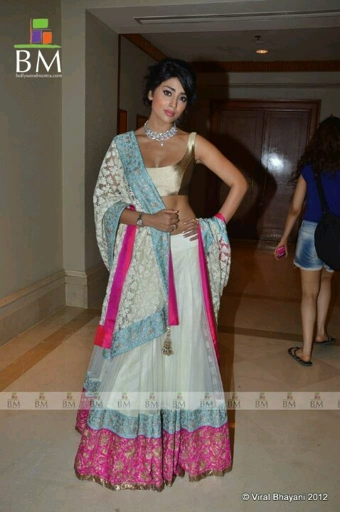White, Blue and Pink Lengha